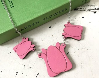 Pink Tulip Necklace, (wooden laser cut)
