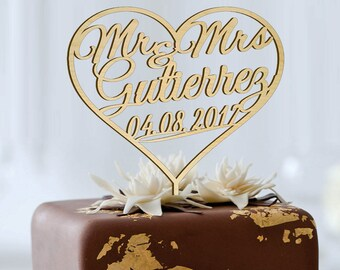 MR-MRS NAME  in the Heart Personalized  Cake Topper, Wedding - Anniversary - Valentine Day Topper - Wedding Keepsake - Photo Prop - Rustic