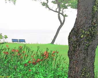 Tree and Grass 2 Benches Print on canvas 36X24 pop art wall art