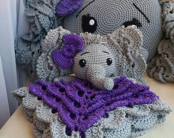 Elephant CROCHET LOVEY & PILLOW Crochet Pillow* Baby Security Blanket* Crochet Elephant Lovey / Blanket / Pillow*Made to Order