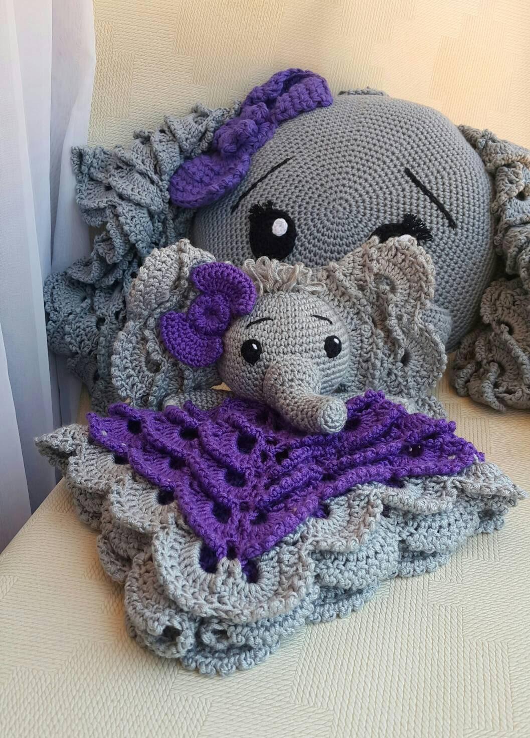 Elephant CROCHET LOVEY & PILLOW Crochet Pillow Baby Security