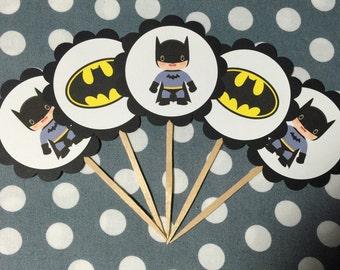 Batman Cupcake Topper - Batman Cupcake Pick - Dessert Table - Photo Prop - Batman Birthday - Batman Baby Shower - Robin - Dark Knight
