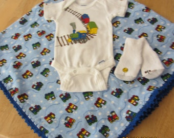 Newborn layette, crochet edged blanket, hand painted train on a  onesie, socks