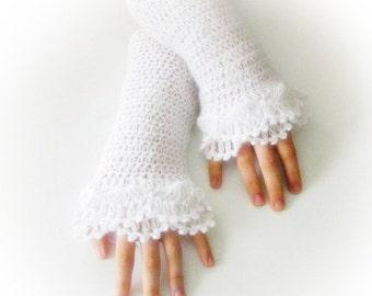 Fingerless Gloves , White, Bridal, Bride,with silver glitter,  Elegant, Shabby, Lace gloves, Mittens, Elegantly, Winter, christmas gift,