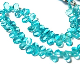 "SALE 8"" 7mm - 8mm APATITE smooth briolettes APB002 (we suggest using 0.010in 0.25mm wire)"