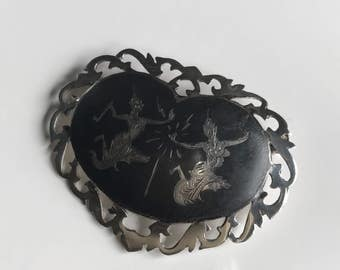 Vintage Sterling Silver Siam Brooch, Large Sterling Heart Shaped Niello Enamel Brooch Pin, 1930s 1940s Sterling Brooch Pin