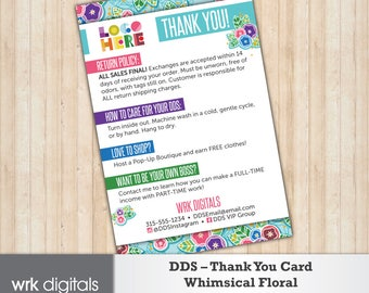 Dot Dot Smile Thank You Card, Care Card, Whimsical Floral Design, Customized Design, Direct Sales, Fashion Consultant