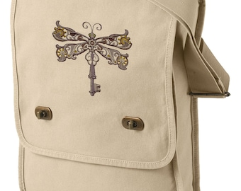Steampunk Dragonfly Embroidered Canvas Field Bag