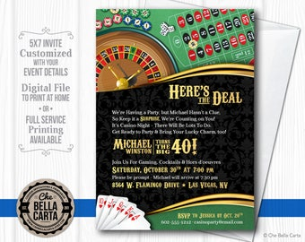 Casino Theme Invitation for Birthday Party, Casino/Game Night, Fundraiser, etc.