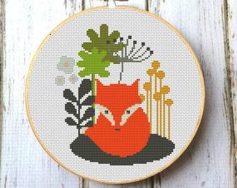 Fox Cross stitch pattern Counted cross stitch pattern Modern Cross Stitch Pattern  Cute red fox PDF-Instant download Woodland animals X061
