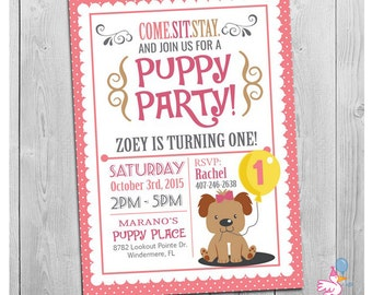 Puppy Invitation: Custom Printable Girls Puppy First Birthday Party Invitations | Puppy Dog Pawty Theme | 1st One Year Old Pink