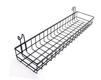 """Black Basket Grid Panel, Wall Mount Hanging Organizer, Wire Metal Storage Shelf Rack Size 15.7"""" x 3.9"""" x 1.9""""/40 x 10 x 5 cm"""