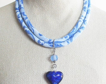 Necklace, fabric necklace, textile jewelry, boho chic jewelry, bohemian necklace, blue necklace, blue glass heart, hippie necklace