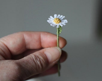 Miniature Crochet Daisy Flowers, Faux Wild  Flowers, Artificial Flowers