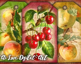 Instant download digital printable tags, Vintage Fruit digital collage sheets