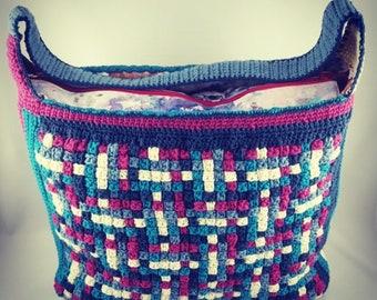 Handmade stripe crochet bag