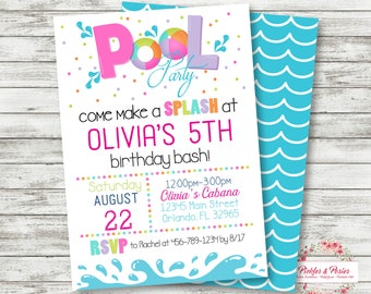 Pink Pool Party Birthday Invitation - Pink Pool Party Invitation - Pool Party Birthday Supplies - Digital File - I EDIT!  YOU PRINT!