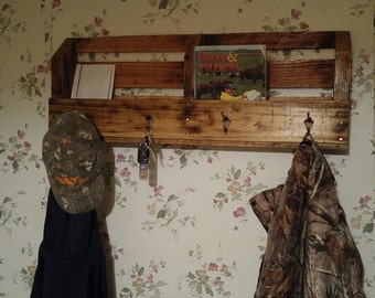Coat rack with mail organizer