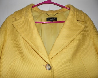 Vintage Talbots  Coat Bright Yellow Size 16  Waist length  A Line