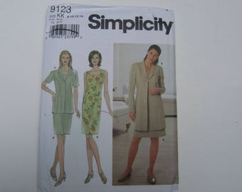 Simplicity 9123 Fitted Dress and Long Fitted Jacket Uncut Sewing Pattern Sizes 8, 10, 12, 14, Simplicity 9123 Uncut Pattern Jacket Dress