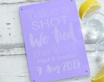Take a Shot Personalised Wedding Reception Sign