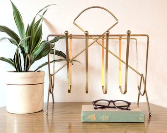 Mid Century Modern Brass Magazine Rack, Gold Tone, Book & Record Holder / Stand