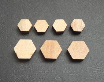 14/20mm  Natural Wood hexagon  No hole  No Varnish (NW031)