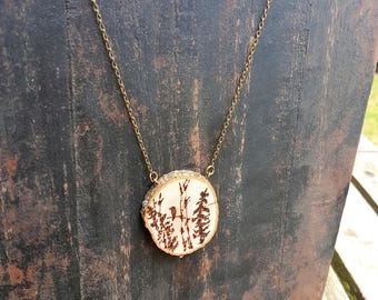 Bald Eagle, Birch and Pine trees, mountains pyrography art Woodburned live edge birch pendant necklace, brass chain and clasp, nature lover