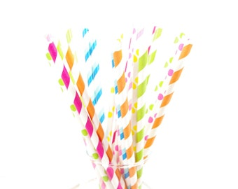 Candy Shoppe - My Little Pony Birthday Party Paper Straws - Set of 25 Straws - Pink, Orange, Aqua, Lime - First Birthday