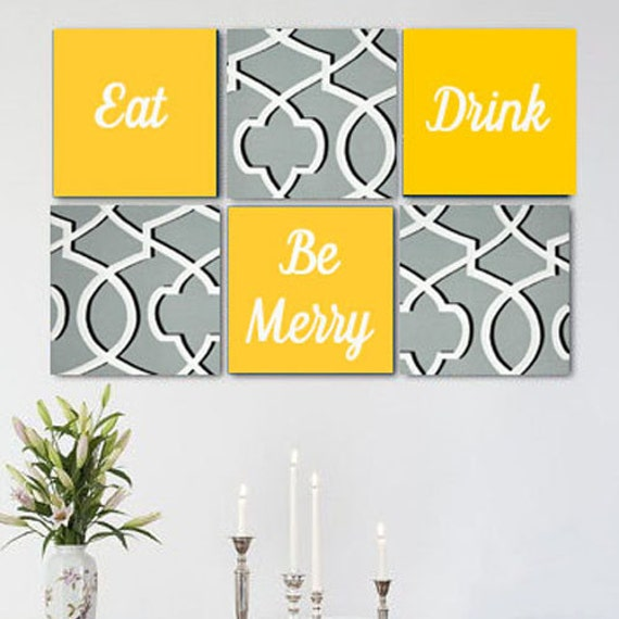 Like this item?  sc 1 st  Etsy & Eat Drink Be Merry Grey White Yellow Wall Art Pack of 6 Canvas
