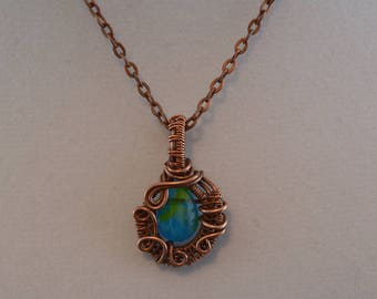 Wire Woven Aged Copper Blue Bead Necklace with Chain