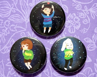 "Undertale 1.25"" Pins - Set of 3 ft. Frisk, Asriel, and Chara"