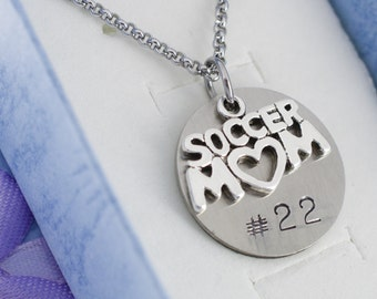 Soccer mom necklace pendant in silver and personalized with player's number.   Customized jewelry. Soccer mom