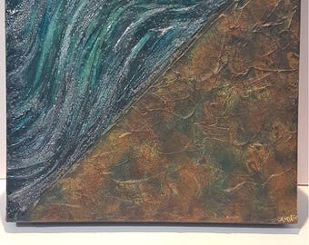 Parting Mixed Media Painting on Gallery deep Canvas inspired by the parting of the red sea