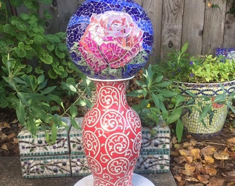 Mosaic garden gazing ball - pink rose - stained glass
