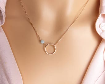 Circle birthstone  Necklace,Dainty Necklace, Birthstone necklace Jewelry, simple Necklace,Minimalist Jewelry,Rose gold circle Necklace,