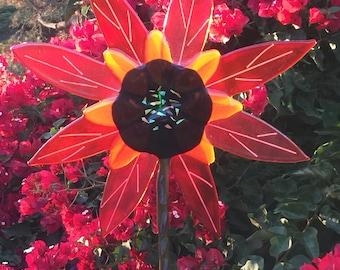 FUSED GLASS FLOWER garden stake l flower garden stake l fused glass