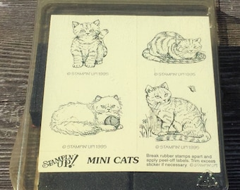 Vintage Stampin' Up Mini Cats Foam Mounted Set of 4 Rubber Stamps, New in Package Never Used Kitty Cat Stamps, Cute Cats Stamp Set