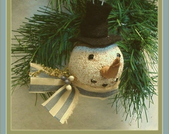 Primitive Folk Art Snowman Head Ornie Pattern NO SEW