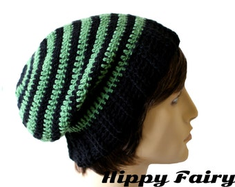 Mens Green and Black striped slouch beanie