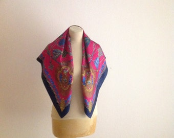 Pink Yellow Roal Blue Baroque Scarf Ornamental Neckerchief Equestrian Tassel Classic Shawl