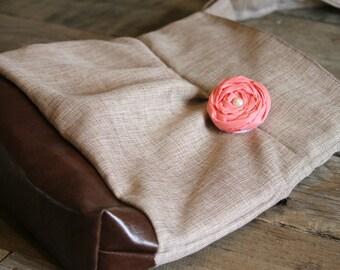 Concealed Carry Purse, Medium Messenger Bag, Brown Linen Like, Coral, Conceal Carry Handbag, Concealed Carry Purse, Conceal and Carry