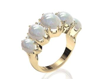 5-Stone Australian Precious Black Opal Ring w/ 0.08ct Diamond in 14K or 18K Gold SKU: R2317
