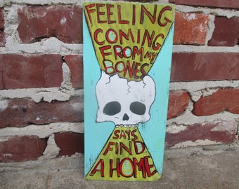 The White Stripes lyrics art on salvaged wood, Seven Nation Army lyrics painting, Jack White singer, Jack White lyrics, skull painting