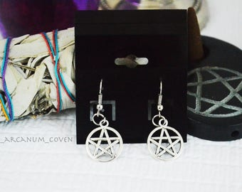 Pentacle earrings / charm earrings / nickel free
