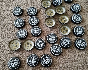 Yee Haw Specialty Crafted Beer Caps, Lot of 27, Double sided