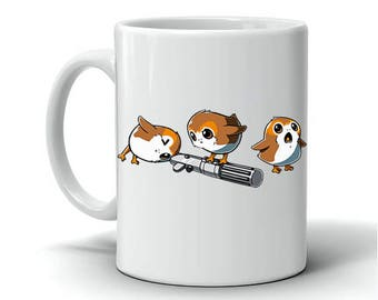 Porg Mug   Star Wars Mug   Cute Porgs with lighsaber Coffee Cup   The Last Jedi