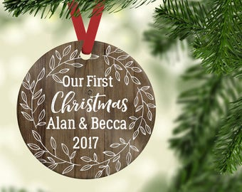 Couples Ornament| Rustic Ornament| Christmas Ornament| Personalized Ornament|Ceramic Ornament| First Christmas Together| Stocking gift| CO07
