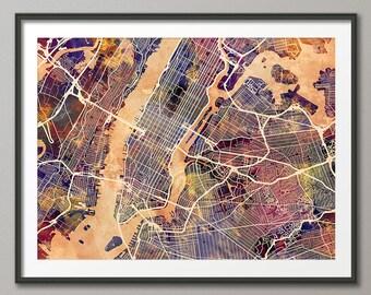 New York City Street Map USA, Art Print (1523)