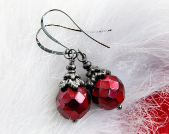 Carmen Earrings - Gothic metallic red glass beads, ornate black oak leaf beadcaps, gunmetal black ear wires -Holiday- Free Shipping USA -